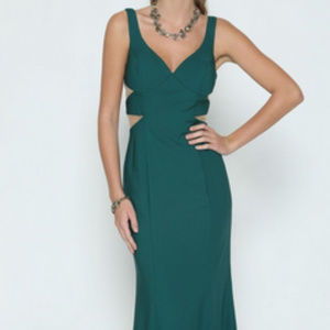 Green V-Neckline Prom Long Dress